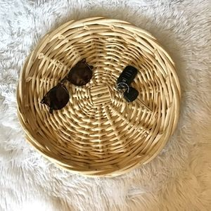 "Vintage Woven Wicker 14"" Shallow Trinket Boho Tray"